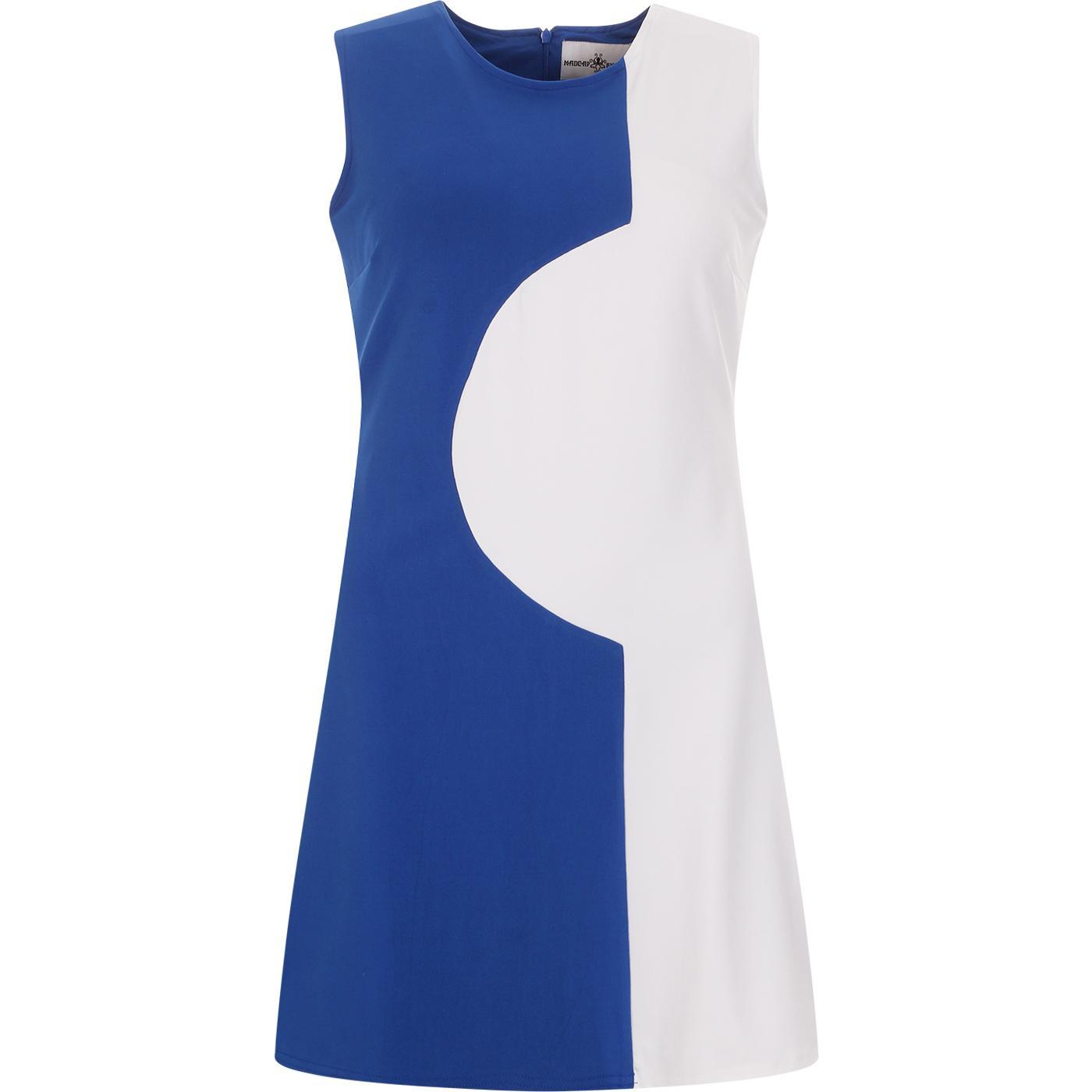 madcap england womens golightly 60s two tone mod dress white turkish sea blue