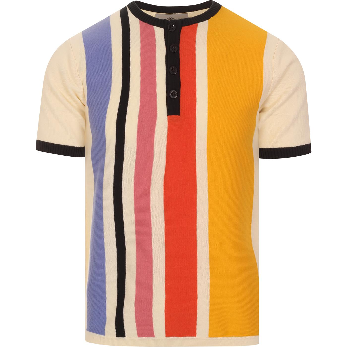 madcap england mens grandad collar vertical stripes knitted tshirt whisper white