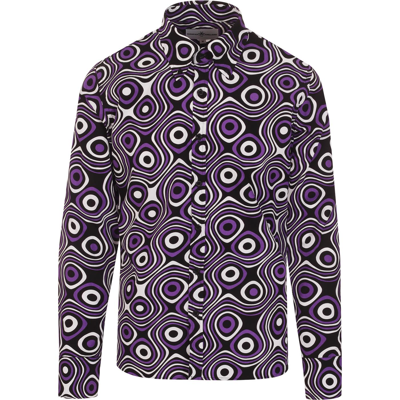 madcap england mens trip op art bold print long sleeve shirt royal lilac black white