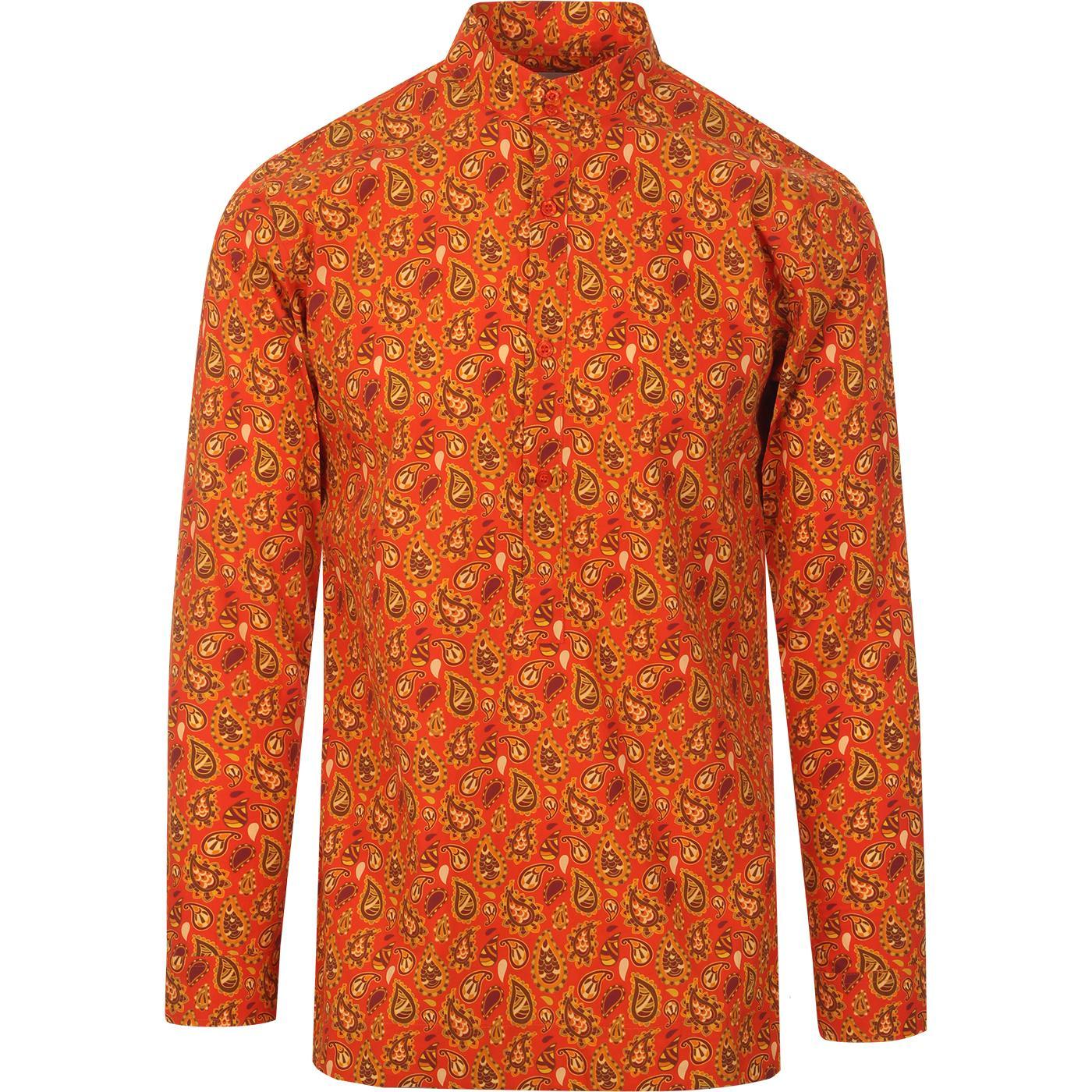 madcap englanad mens gold paisley print kaftan long sleeve shirt orange