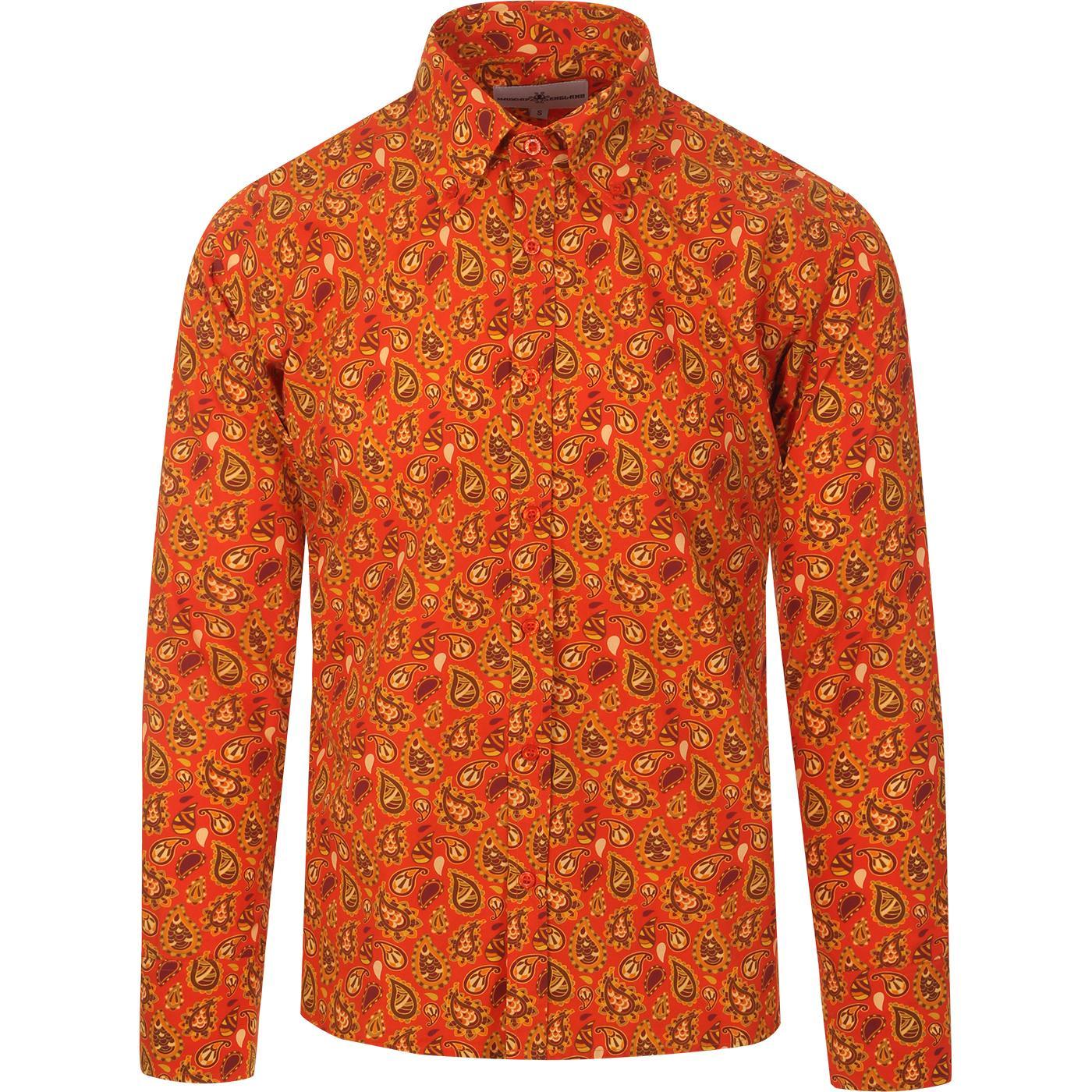 madcap england mens trip paisley print long sleeve shirt red gold