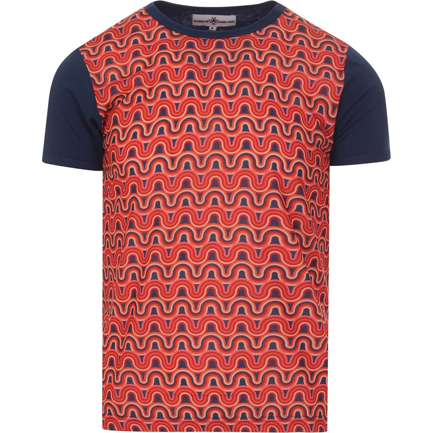 madcap england mens rainbow printed front panel ringer neck tshirt blue red