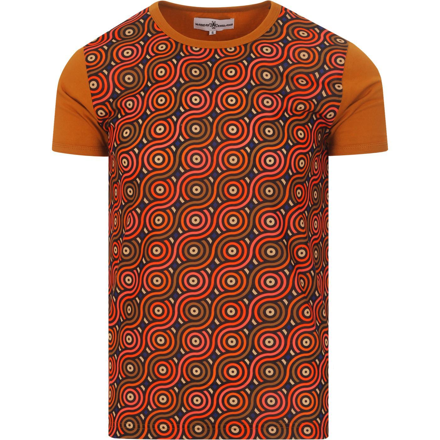 madcap england mens rainbow rolls printed front panel ringer neck tshirt brown