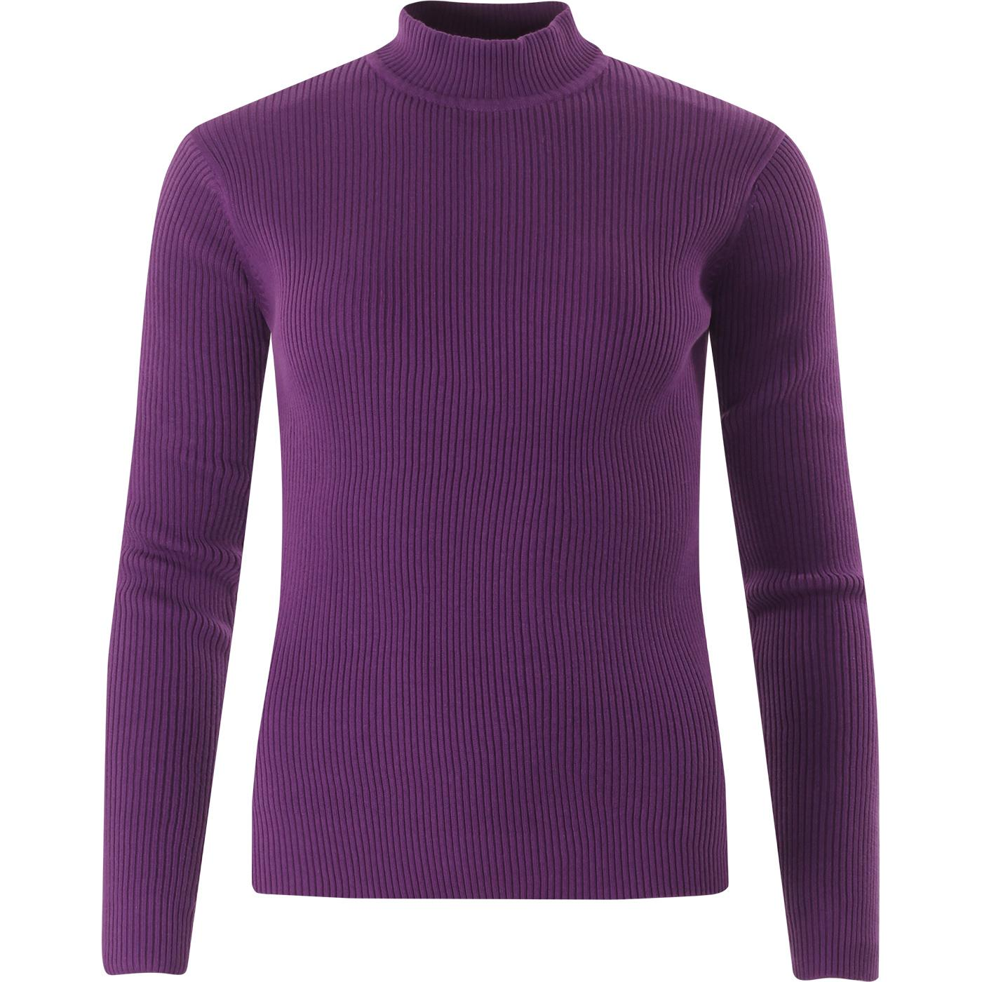 madcap england womens ribbed knit turtleneck long sleeve slim fit top imperial purple