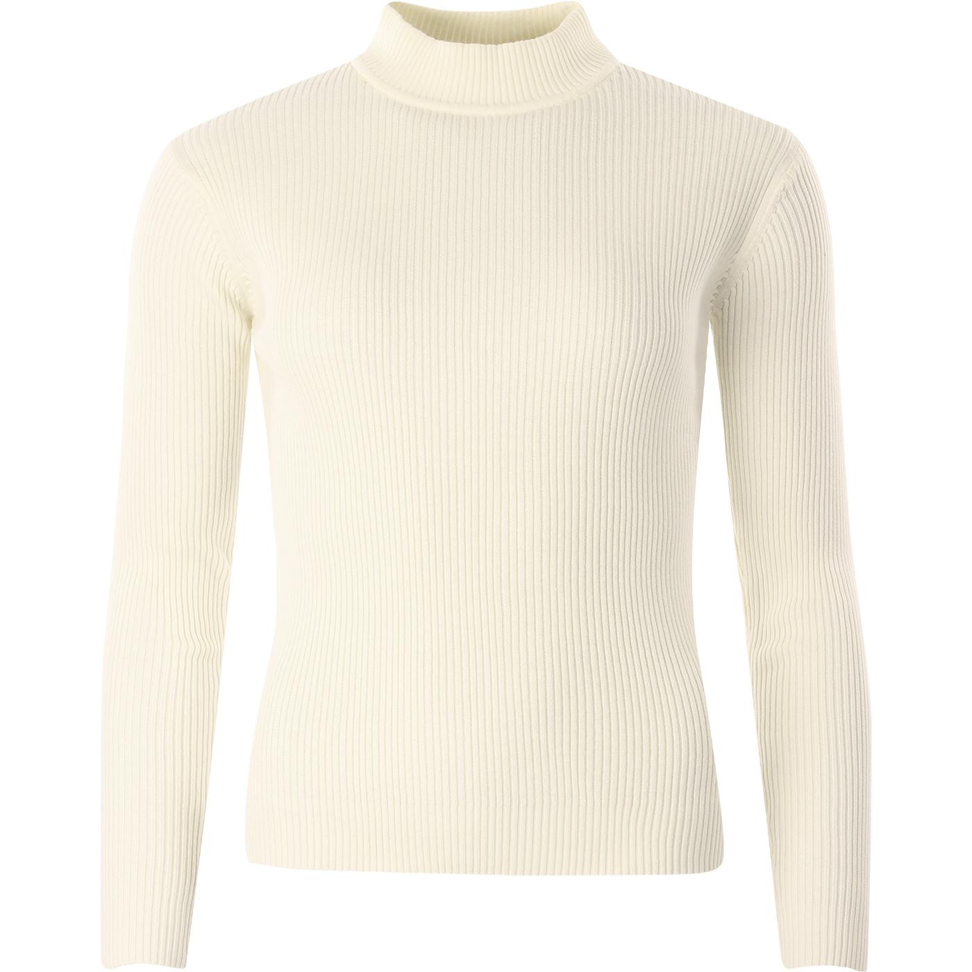 madcap england womens ribbed knit turtleneck long sleeve slim fit top winter white