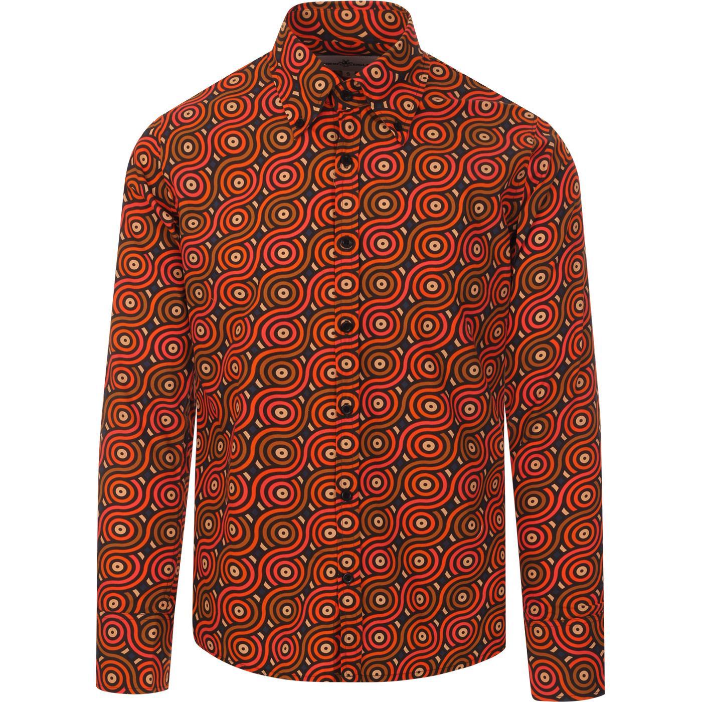 madcap england mens trip rainbow rolls print long sleeve shirt navy