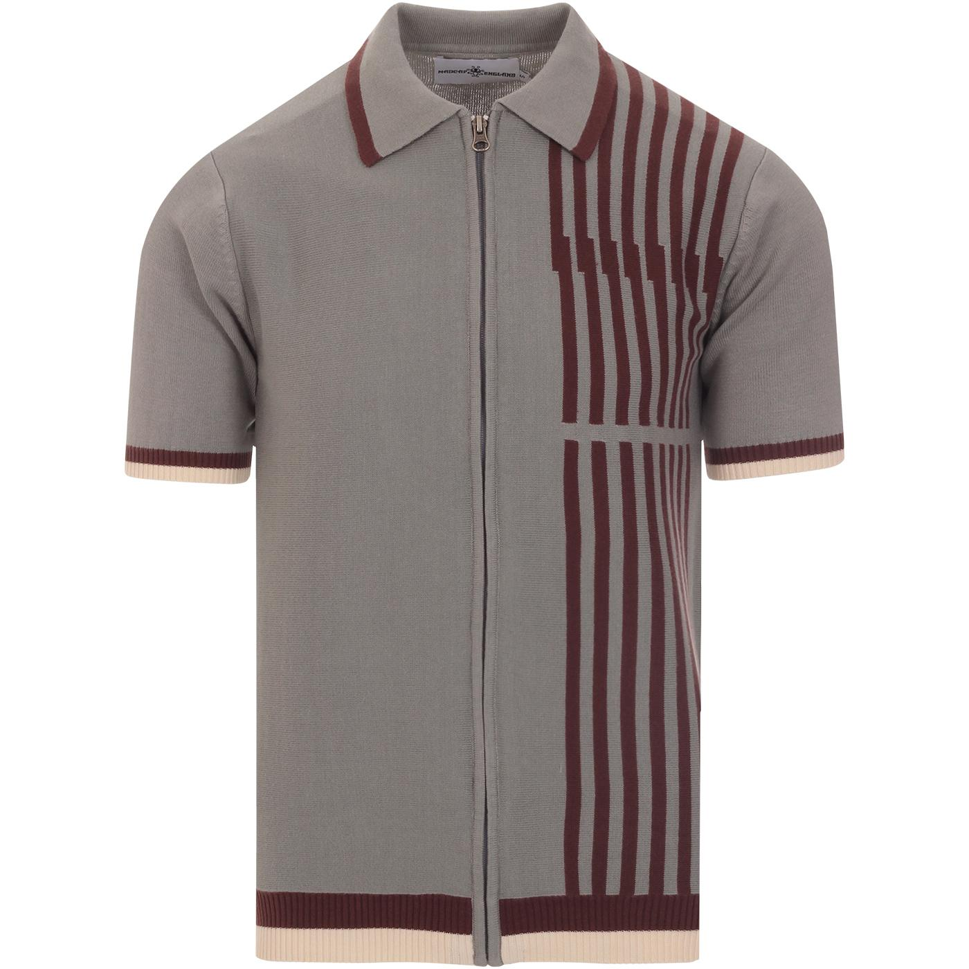 madcap england mens knitted side stripes zip through polo moon mist grey