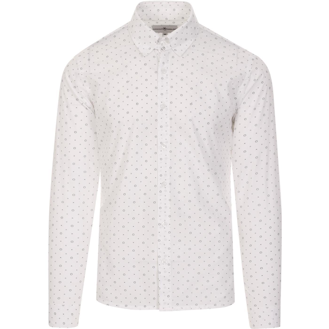 madcap england mens tab collar patterned long sleeve shirt white