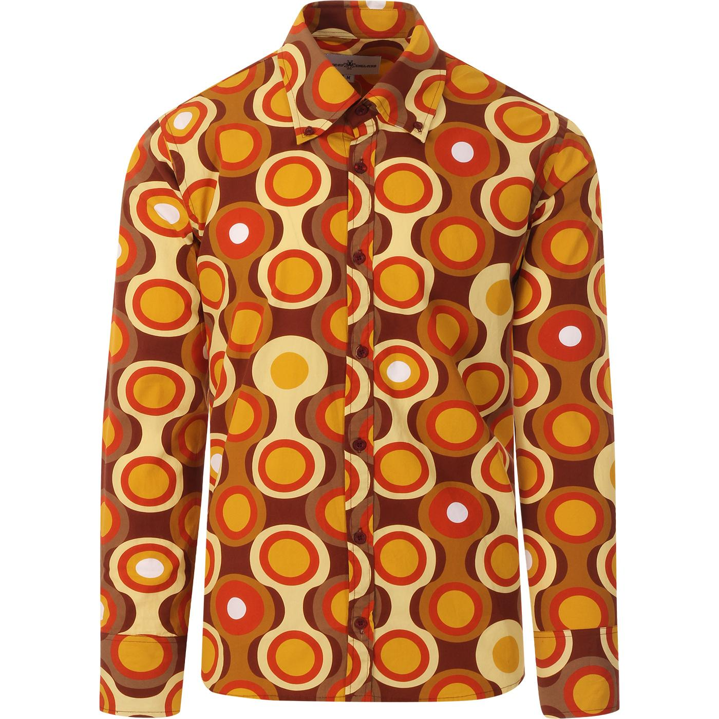 madcap england mens new trip circle bold print long sleeve shirt brown mustard
