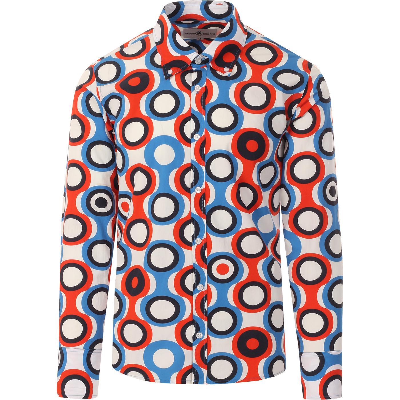 madcap england mens new trip circle bold print long sleeve shirt blue red