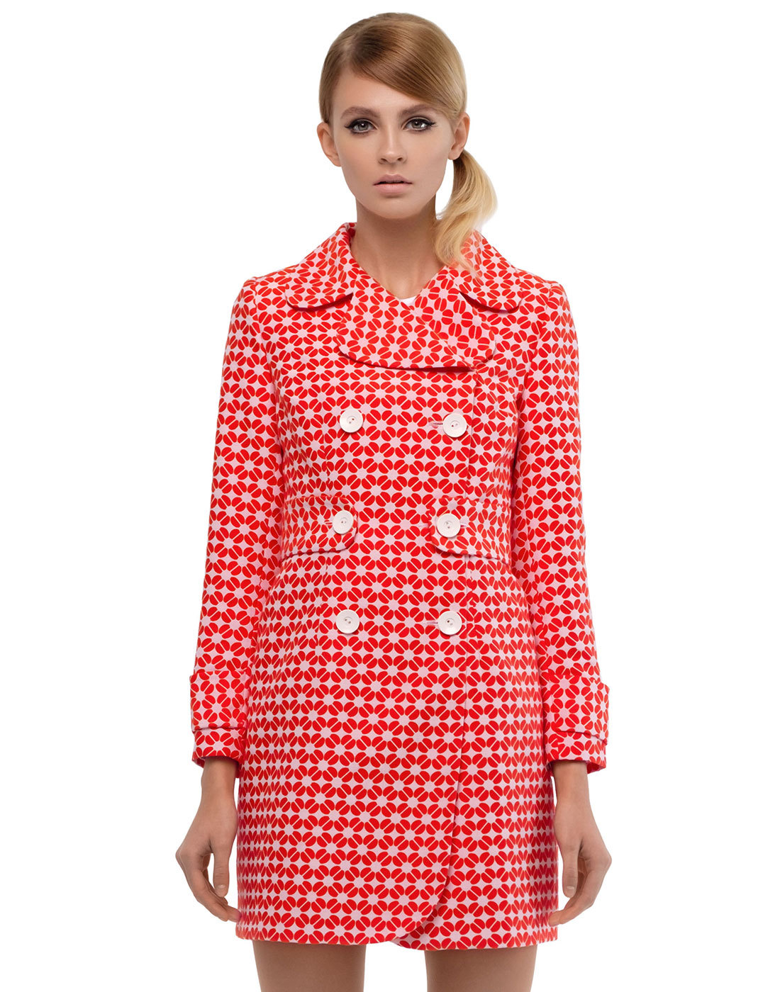 MARMALADE 60s Mod Double Breasted Geo Floral Coat