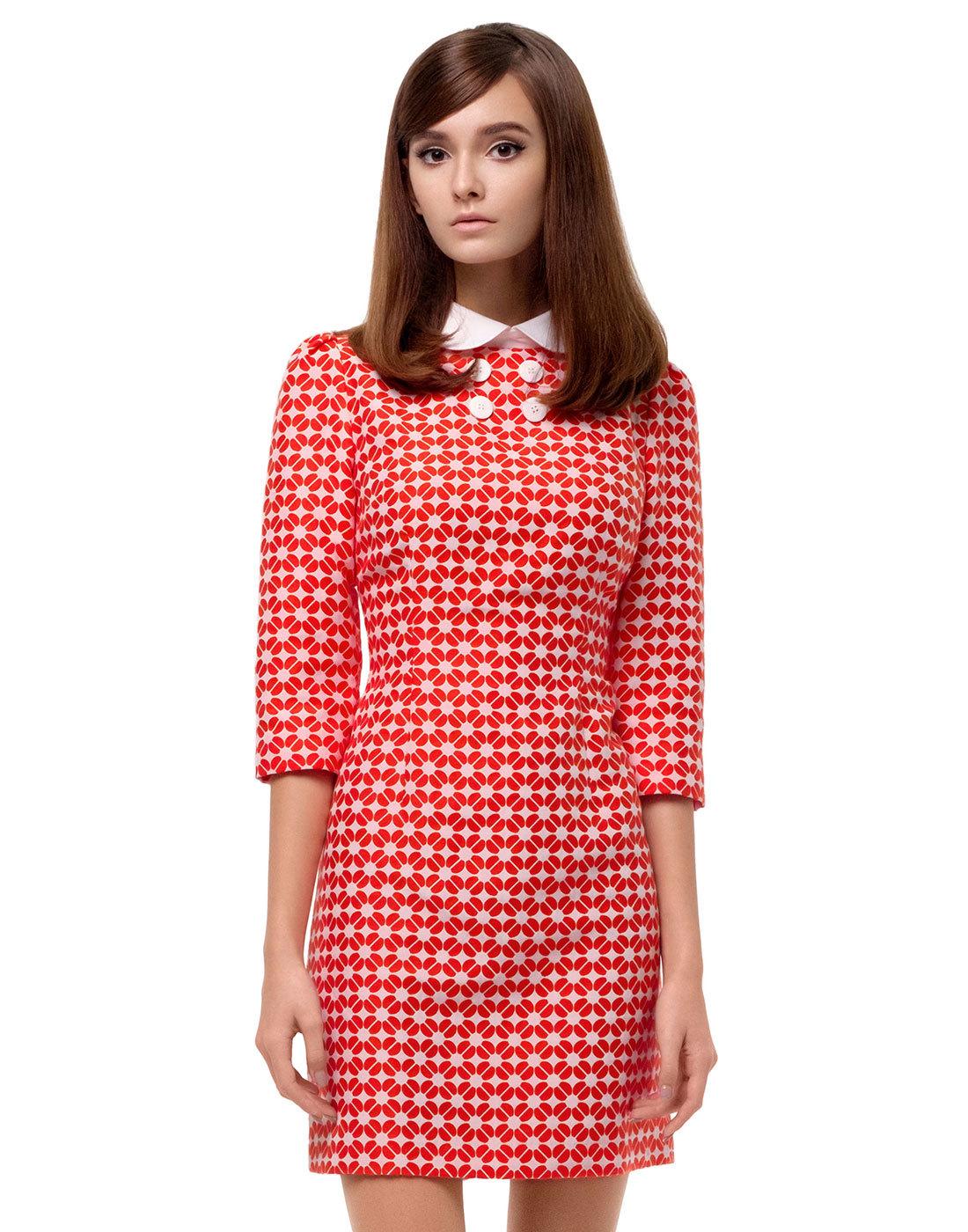 MARMALADE 60s Mod Geometric Flower Fitted Dress