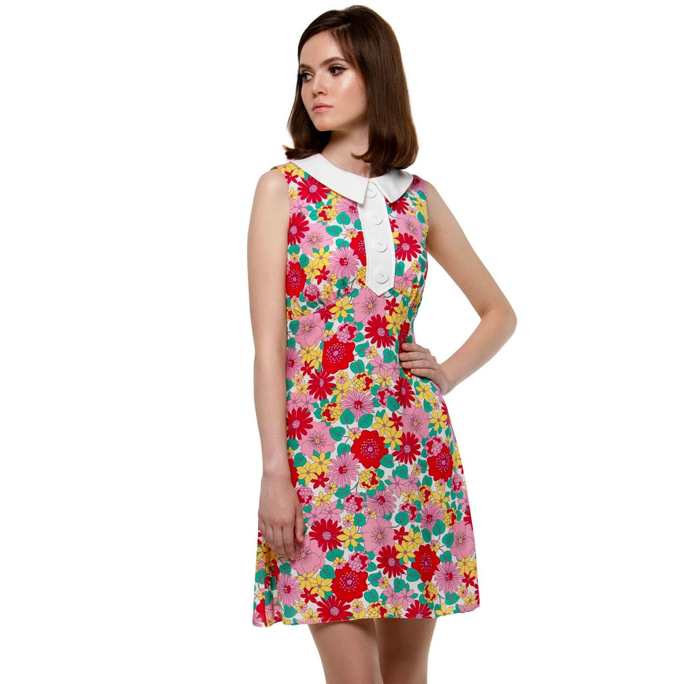 MARMALADE 60s Mod Floral Mini Dress With Collar