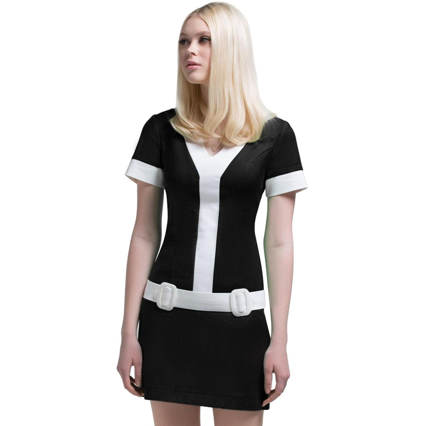 MARMALADE Retro 60s Short Sleeve Mod Dress Black