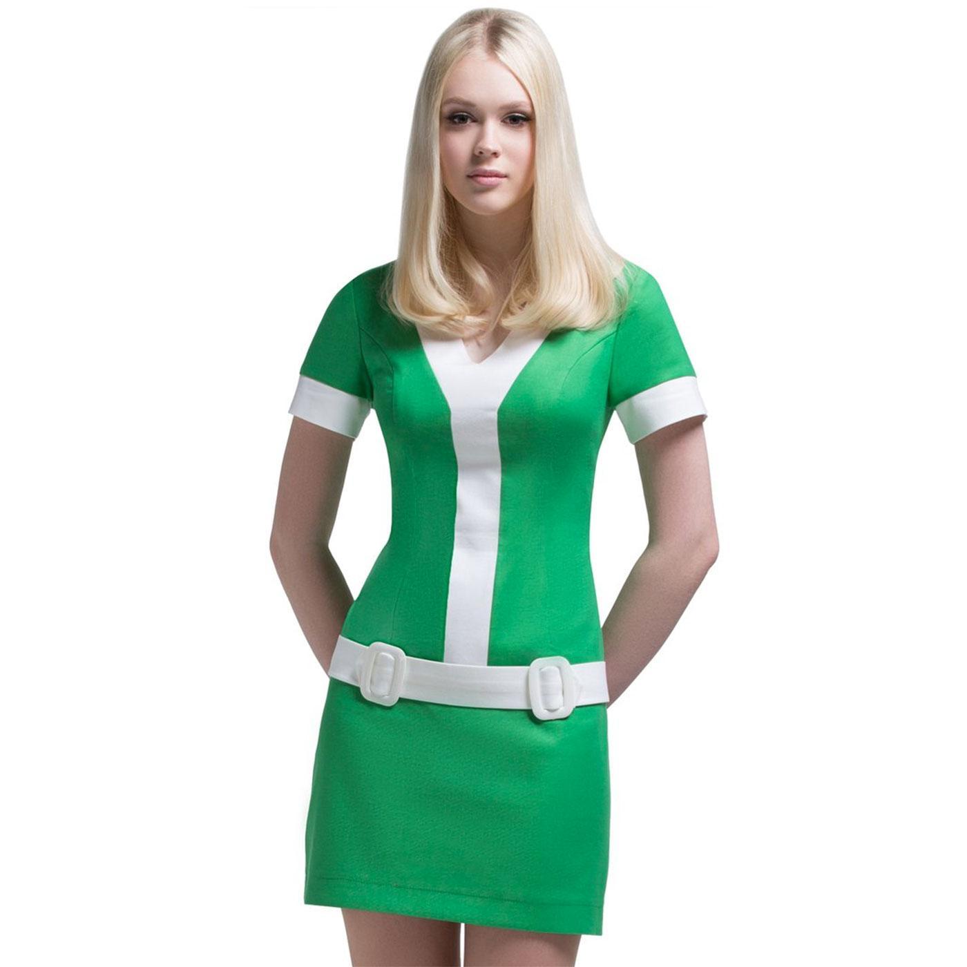 MARMALADE Retro 60s Short Sleeve Mod Dress Green