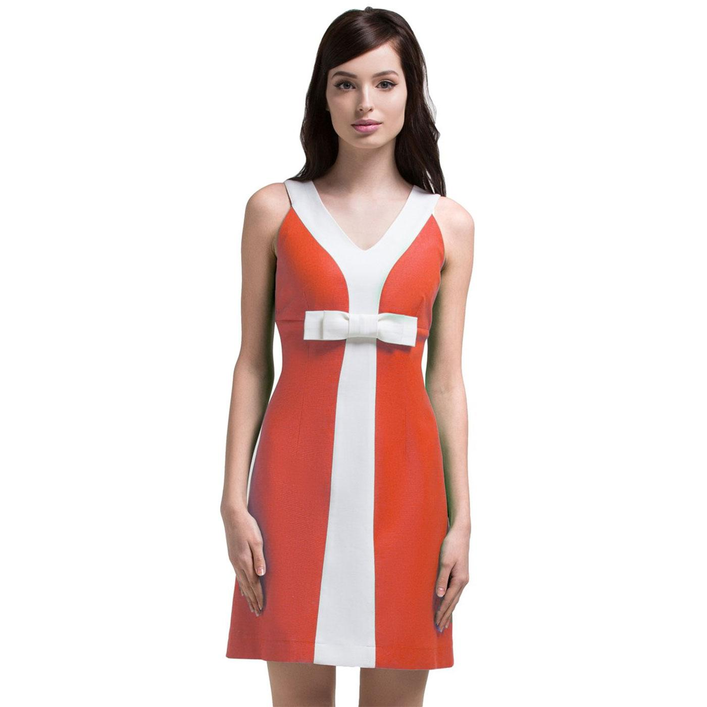 MARMALADE Retro 60s Mod Sleeveless Y Dress Coral