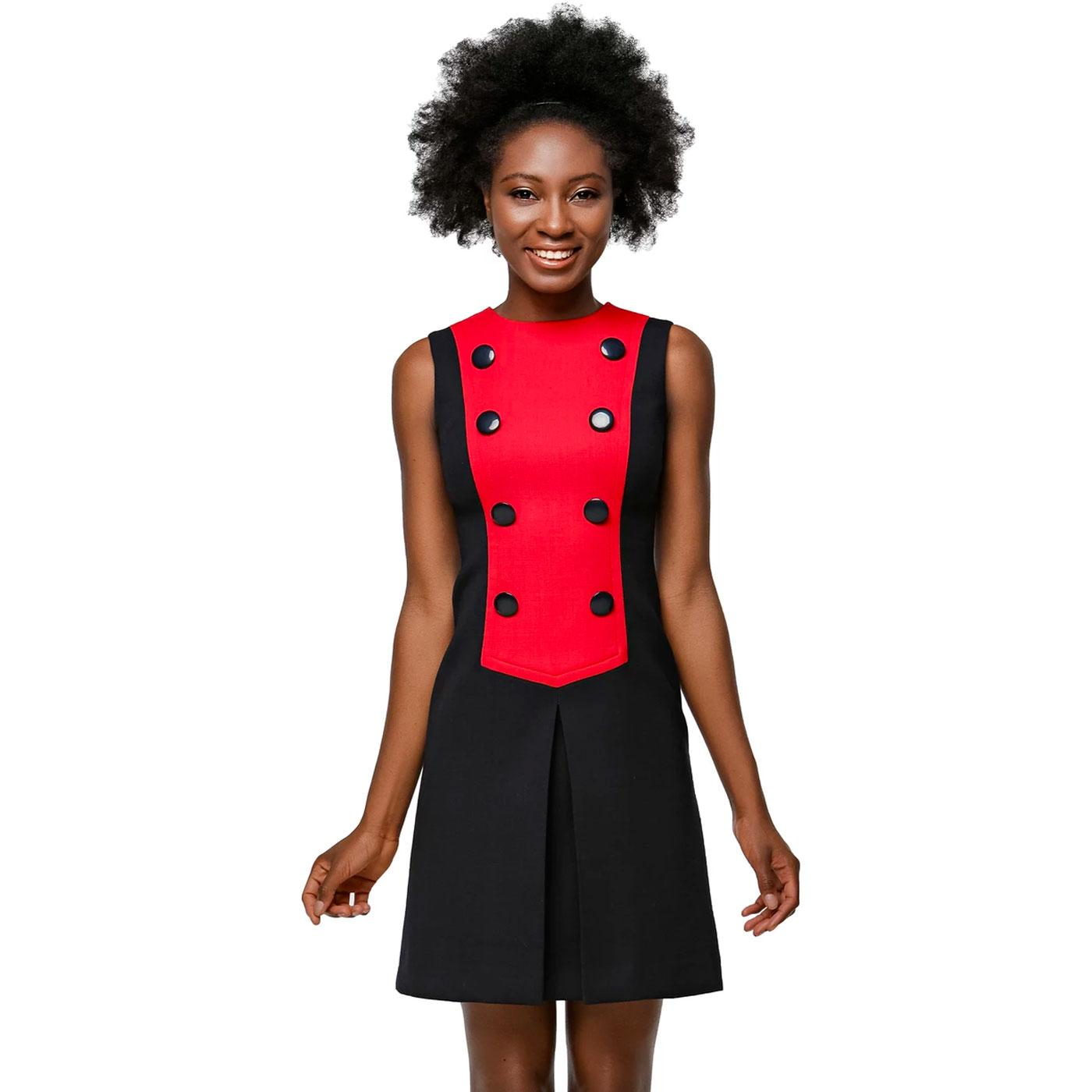 MARMALADE Button Front Two Tone Dress In Red/Navy