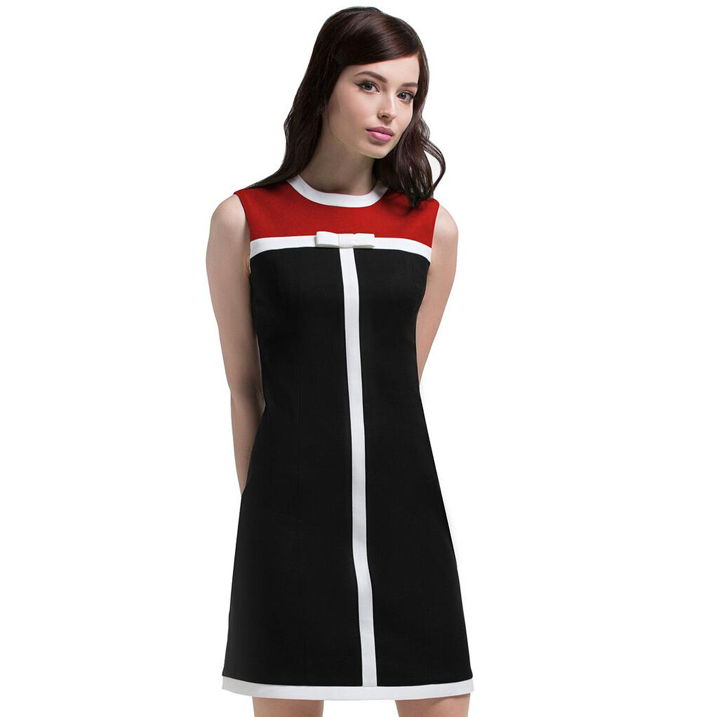 MARMALADE Retro 60s Mod Bow Dress in Black/Red