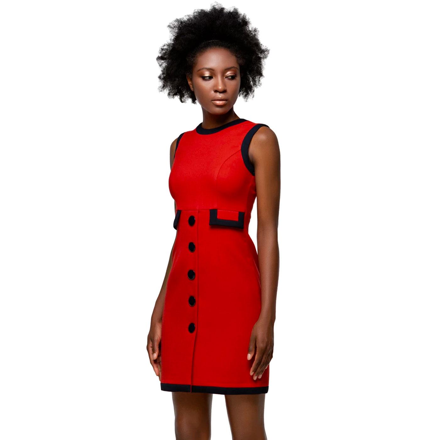 MARMALADE 1960s Black Trim Red Mod Dress