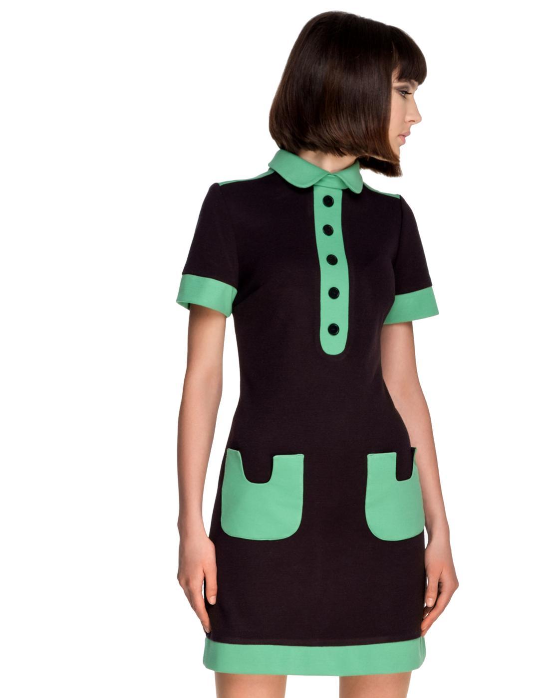 MARMALADE 1960s Mod Contrast Pocket Polo Dress B/G