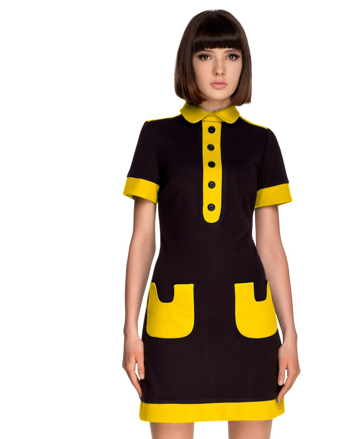 MARMALADE 1960s Mod Contrast Pocket Polo Dress B/Y