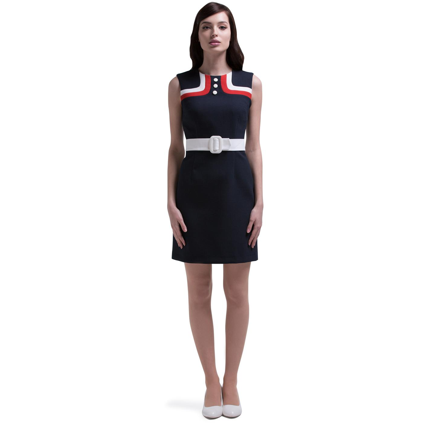 MARMALADE Retro 60s Mod Airline Dress in Navy