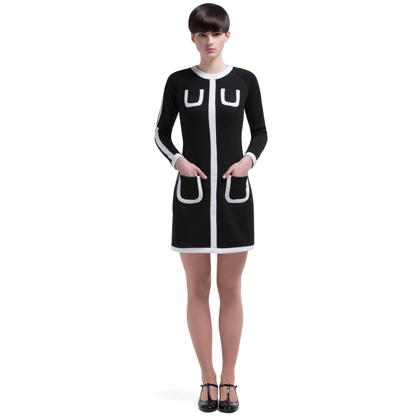 MARMALADE Retro 60s Mod Outlined Dress in Black