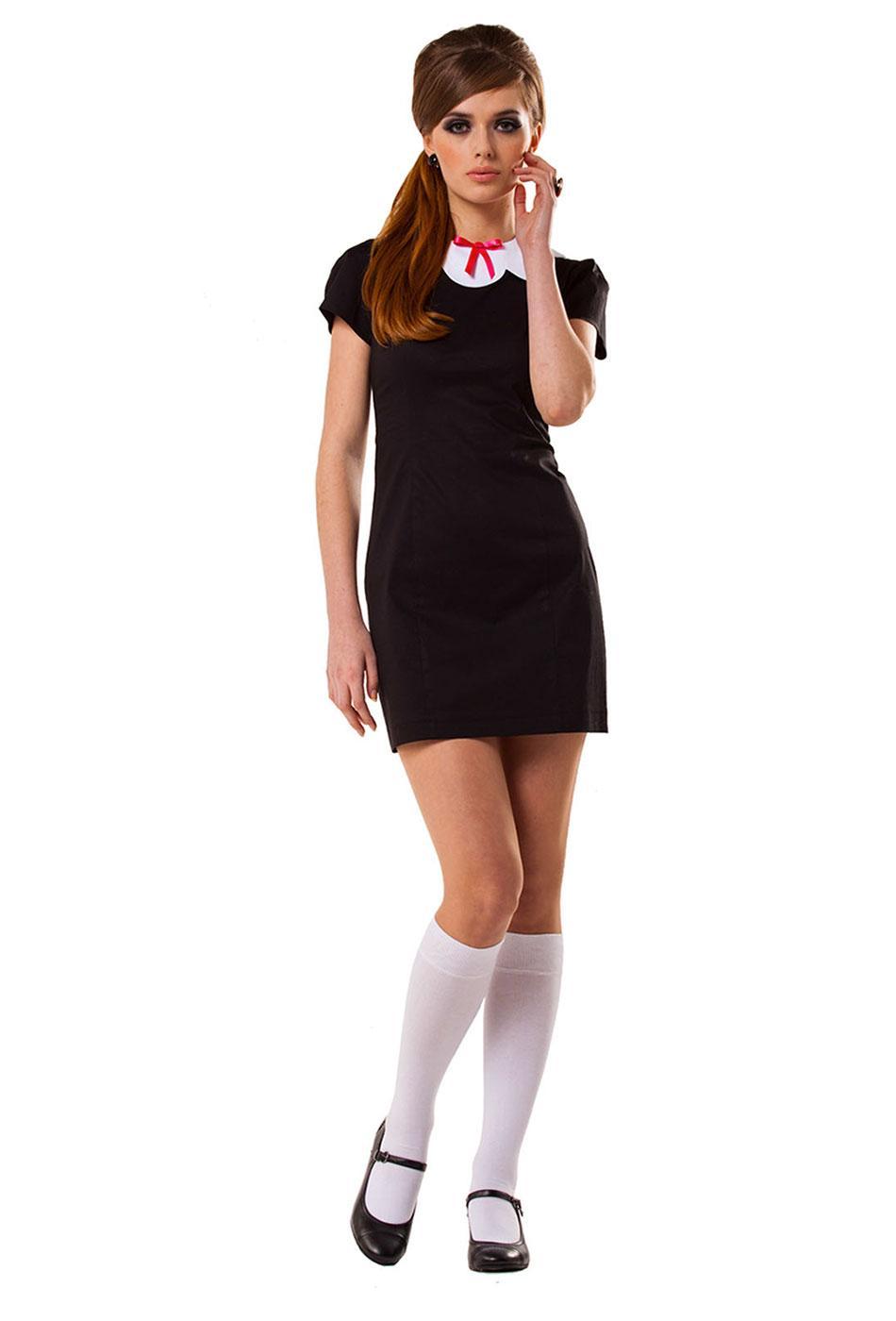 MARMALADE 60s Mod Fitted Scallop Collar Dress B/W