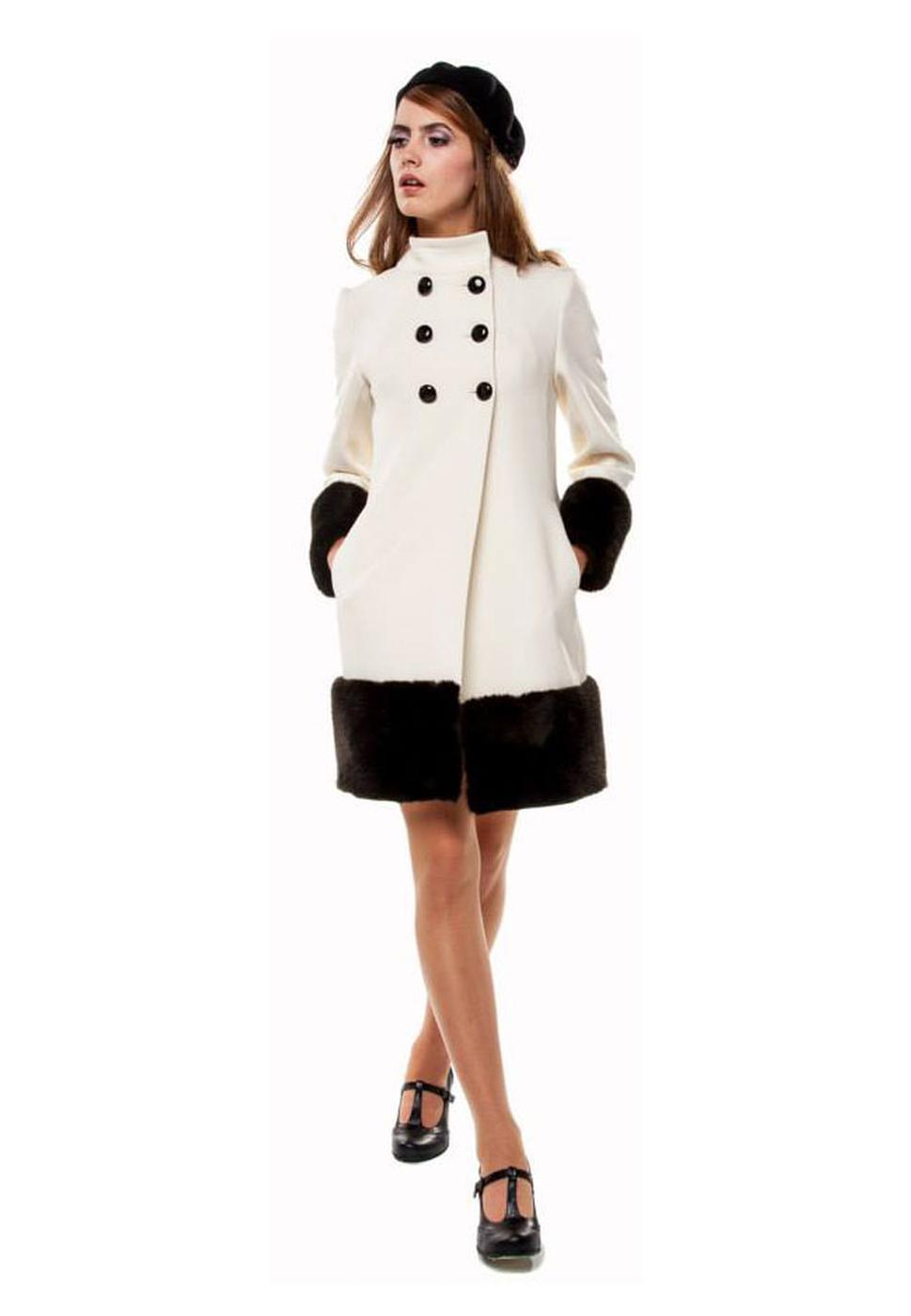 MARMALADE 60s Mod Winter Coat with Faux Fur Cuffs