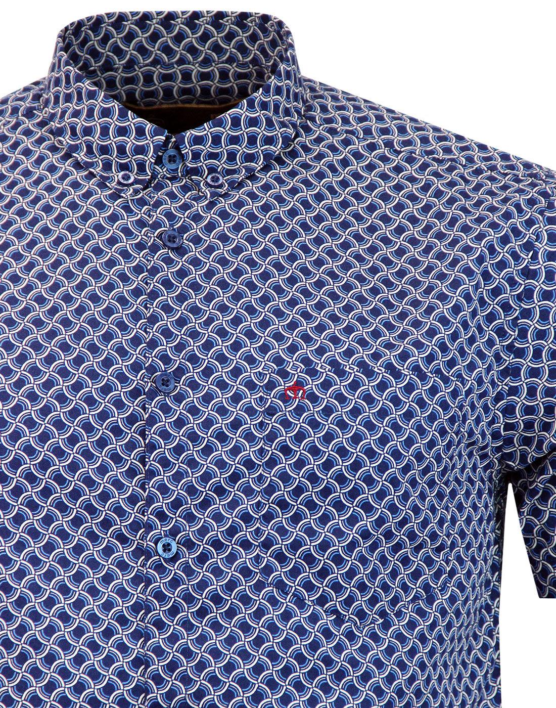 869457ab6 MERC Avery Men's 60s Mod Op Art Circle Short Sleeve Shirt in Navy