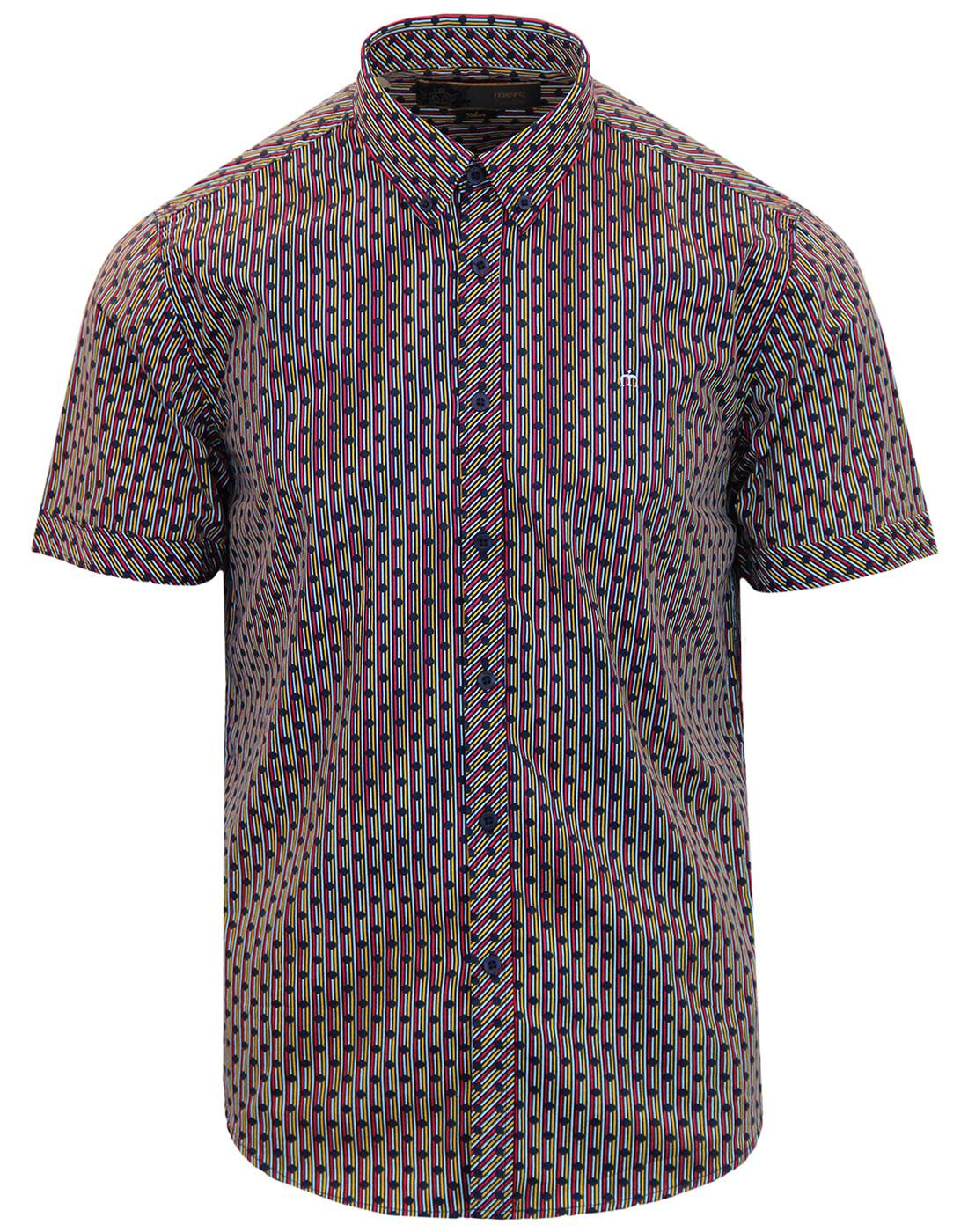 Barrack MERC 1960s Mod Polka Dot Stripe Shirt NAVY