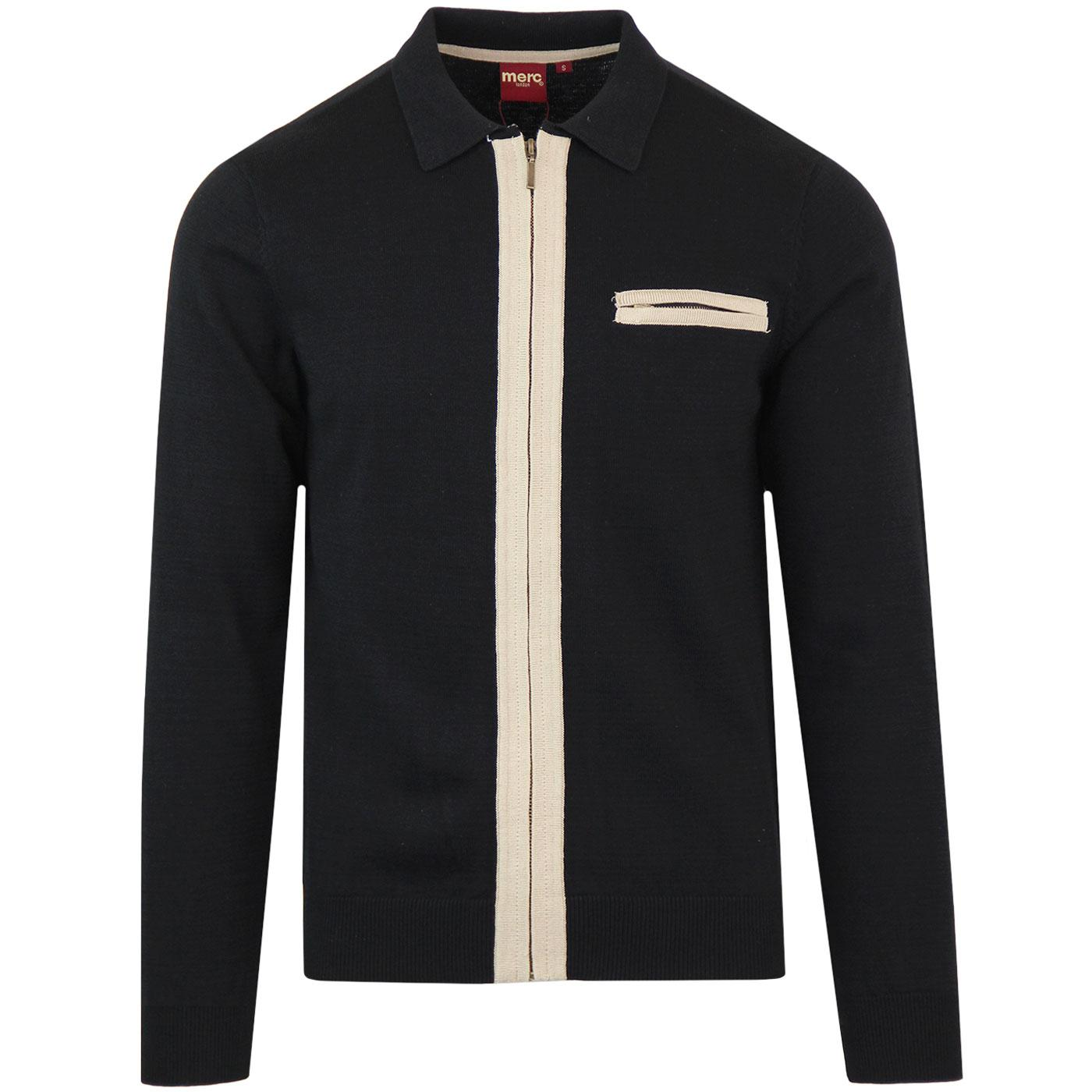 Belsize MERC Retro Mod Contrast Zip Polo Cardigan