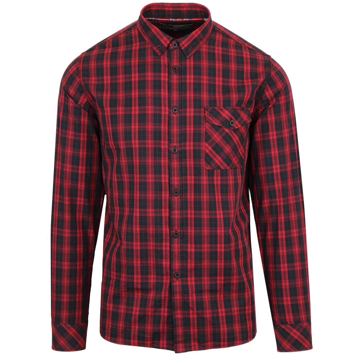 Brixton MERC Retro Mod Button Down Check Shirt RED