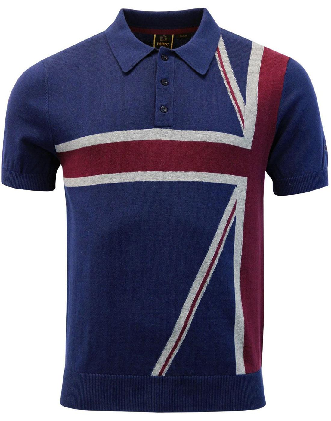 Castle MERC Retro Mod Union Jack Knitted Polo Top