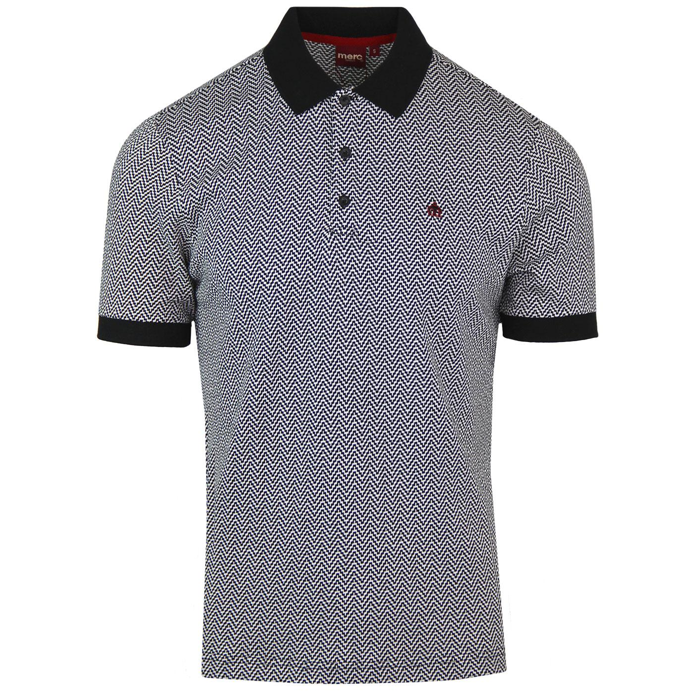 Deptford MERC Mod Op Art Jacquard Zig-Zag Polo Top