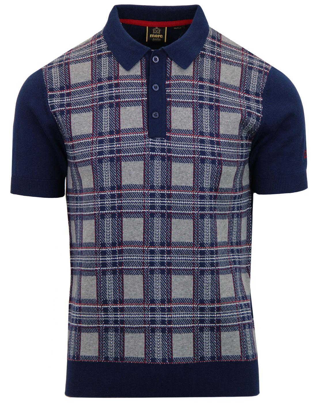 Derek MERC 60s Mod Tartan Check Knitted Polo Shirt