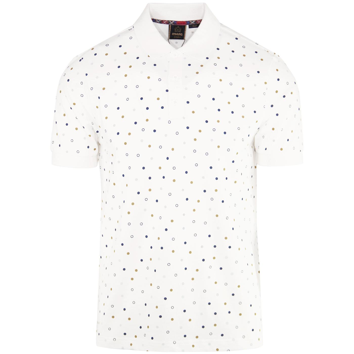 Dalmeny MERC Retro Mod Dot Print Polo (Off White)