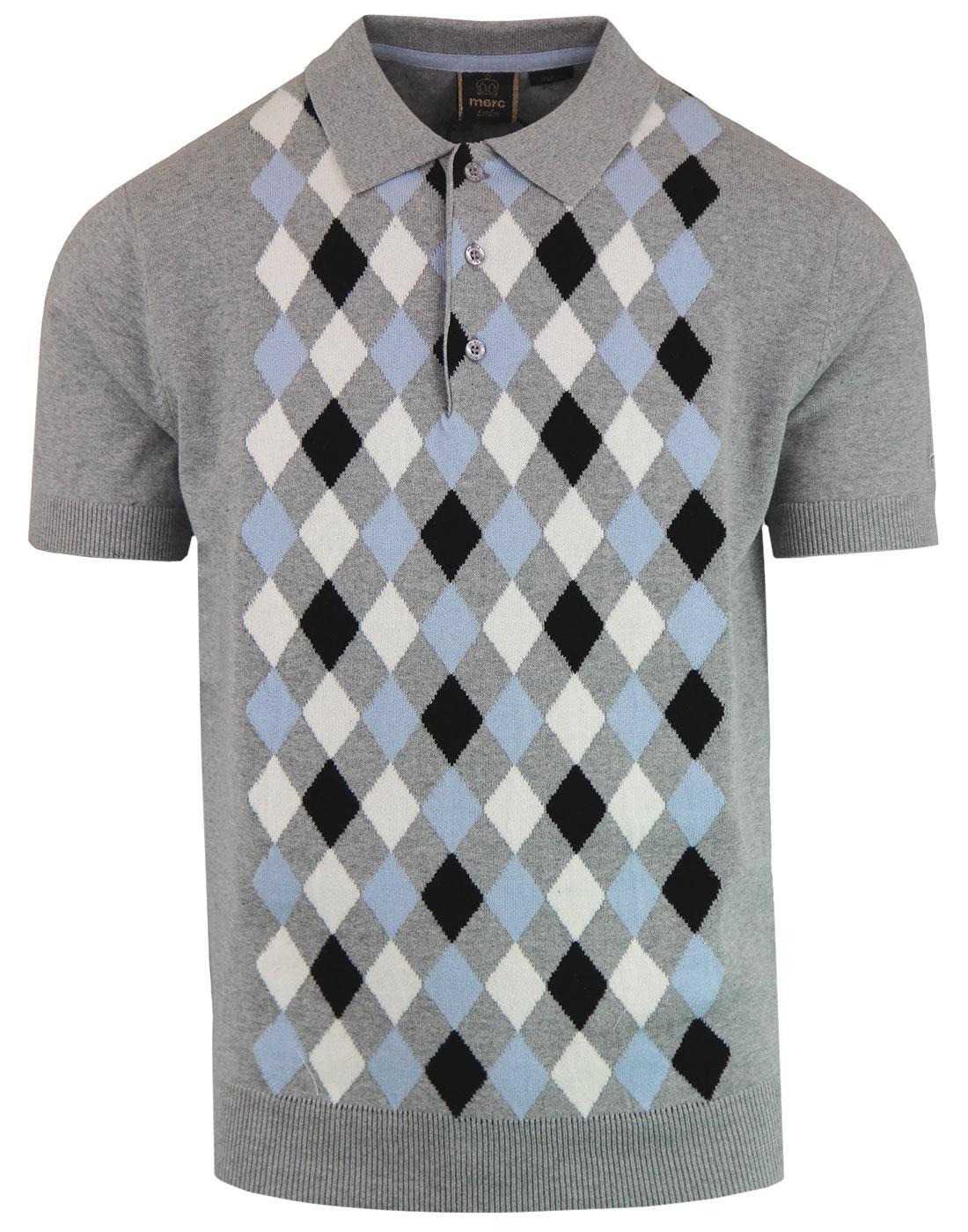 Echo MERC 1960s Mod Argyle Knitted Polo Shirt (GM)