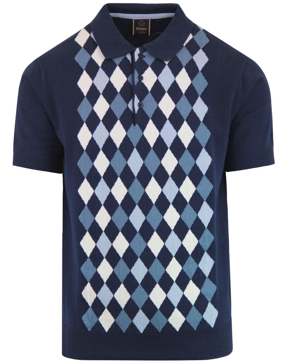 Echo MERC 1960s Mod Argyle Knitted Polo Shirt NAVY