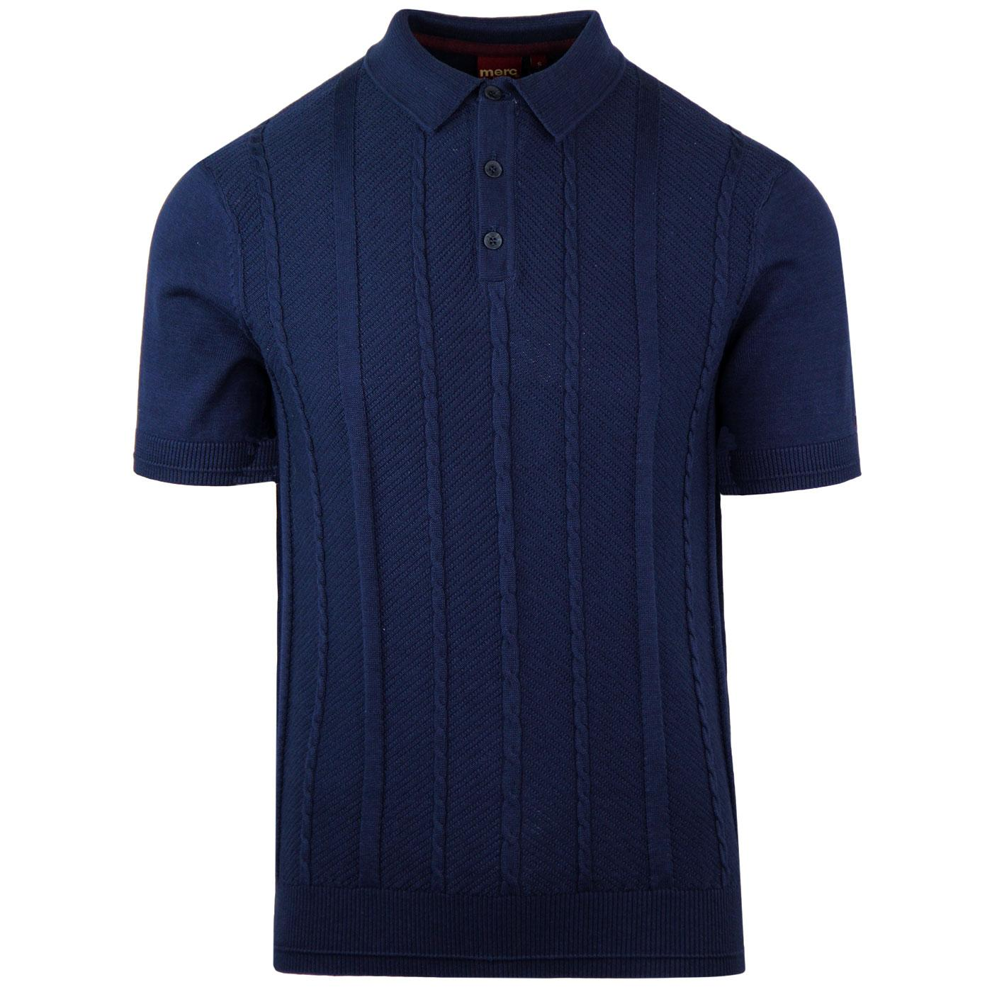 Frith MERC Retro Mod Cable Knit Polo Top (Navy)