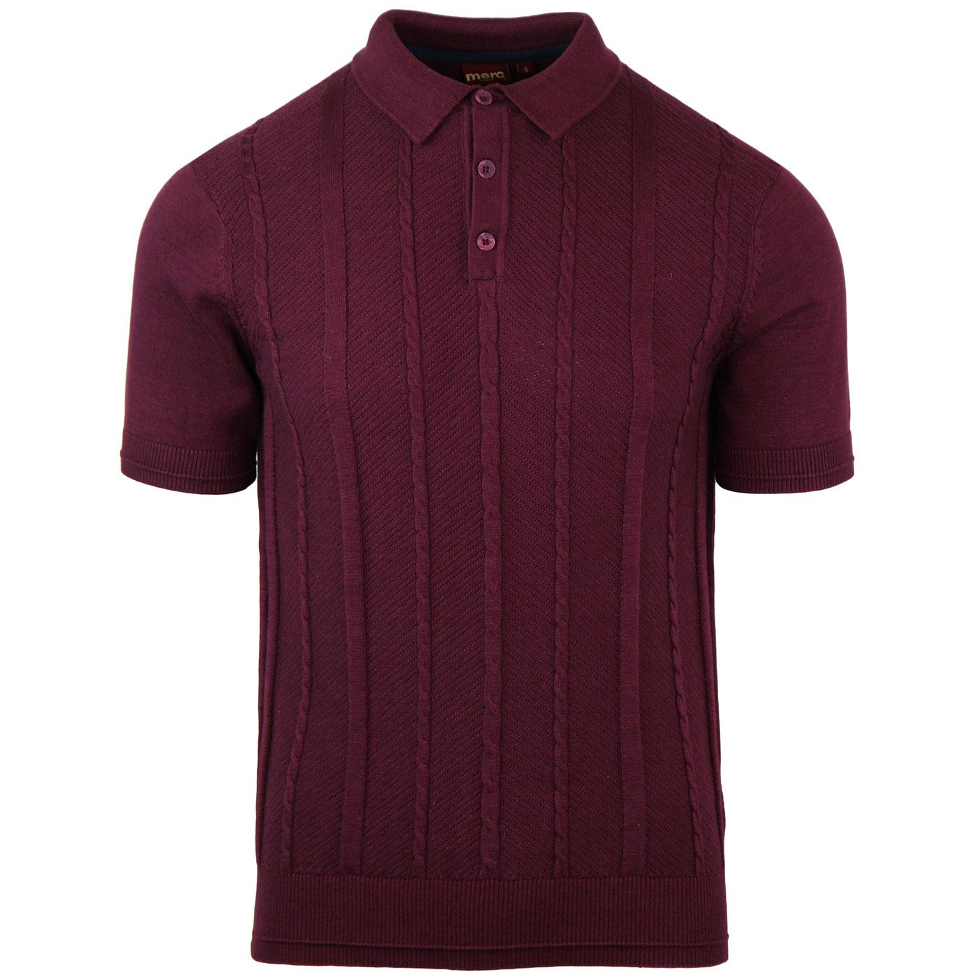Frith MERC Retro Mod Cable Knit Polo Top (Wine)