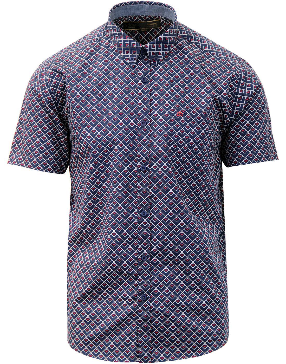 Garrison MERC Geo Square Op Art Retro Mod Shirt