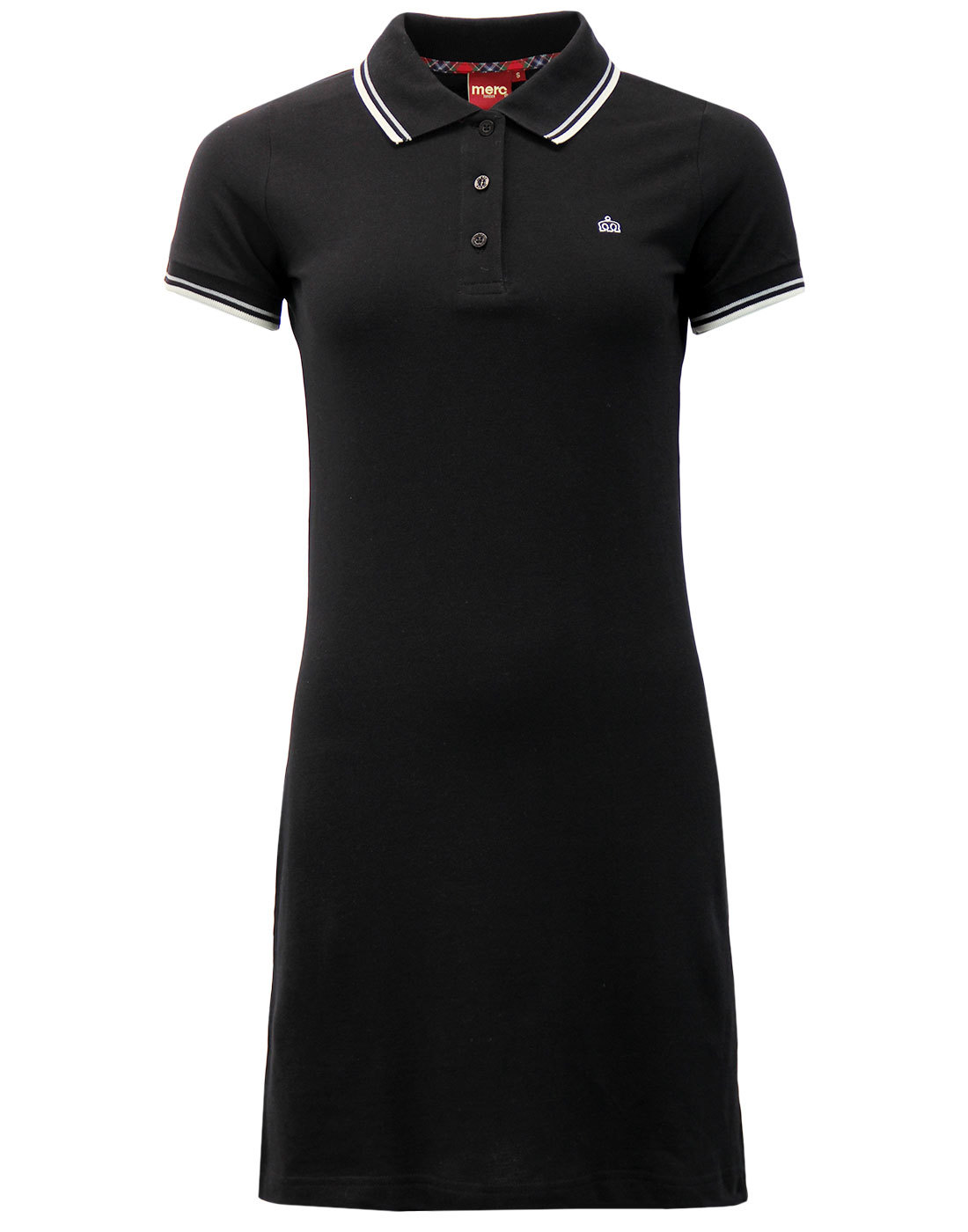 Kara MERC Retro Mod Tipped Pique Polo Dress BLACK