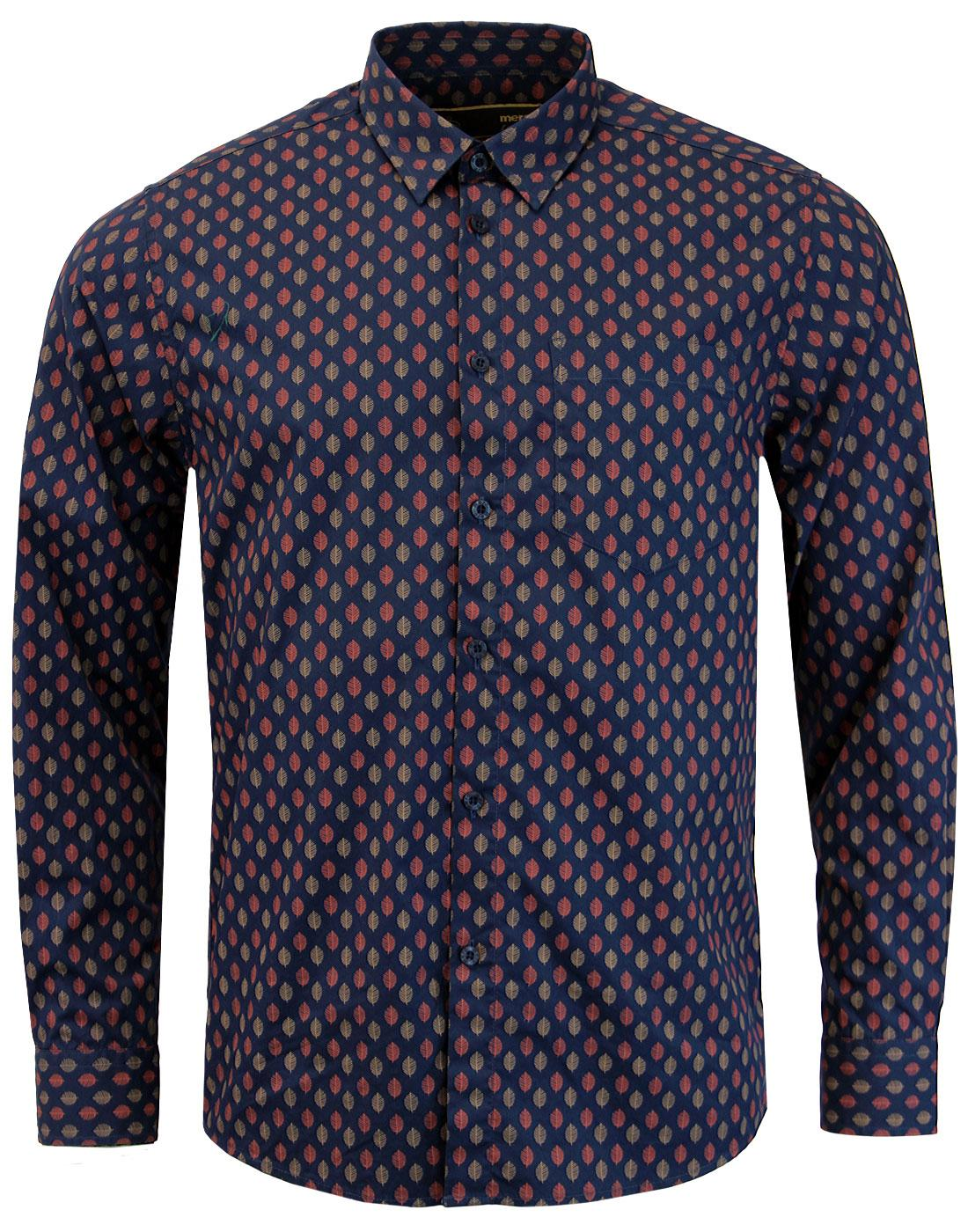 Lloyd MERC Men's 1960s Mod Leaf Print Shirt NAVY