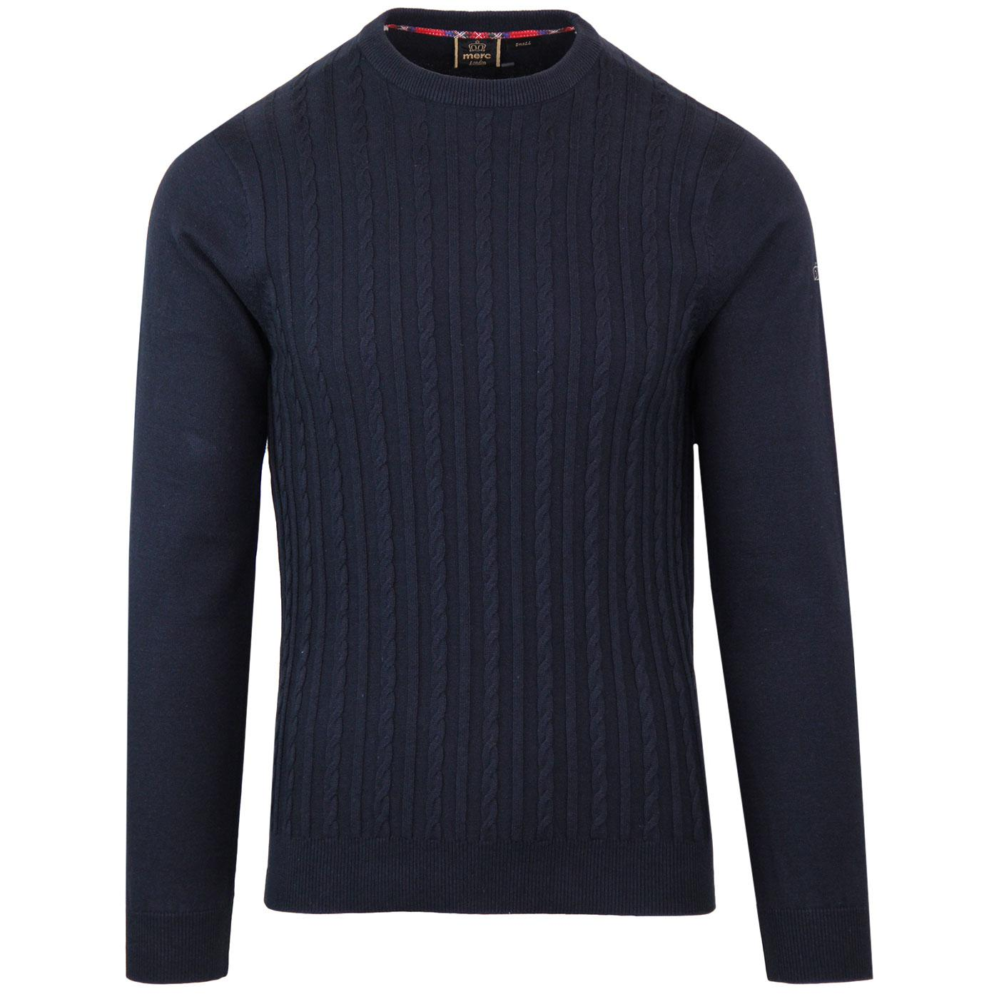 Muswell MERC Retro Mod Cable Knit Jumper DARK NAVY