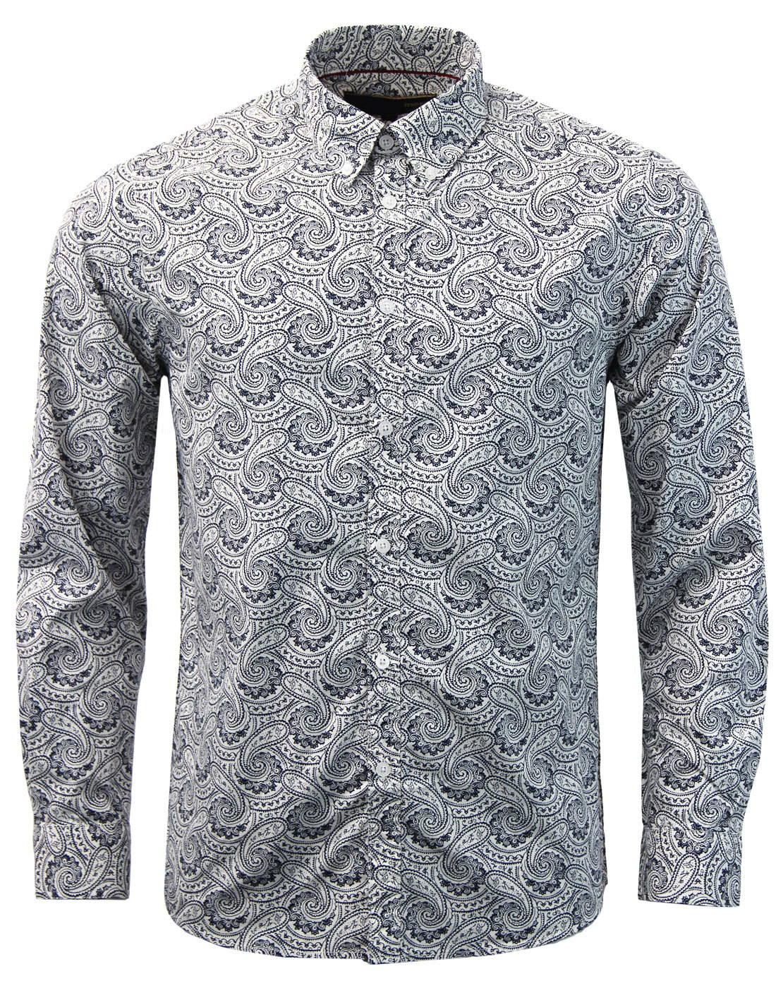 Patcham MERC Retro 60s Mod Monotone Paisley Shirt