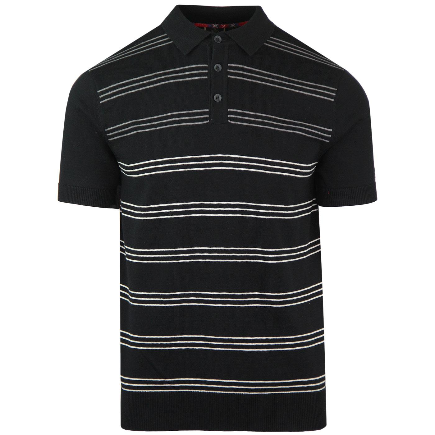 Penge MERC Retro Mod Stripe Knit Polo Shirt BLACK