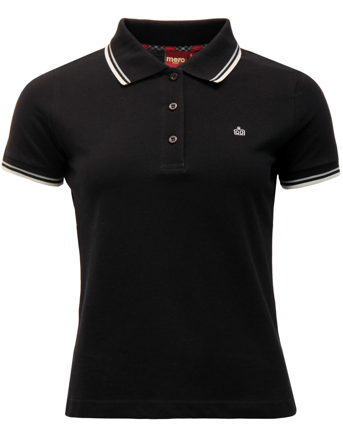Merc Womens Mod Tipped Polo in Black