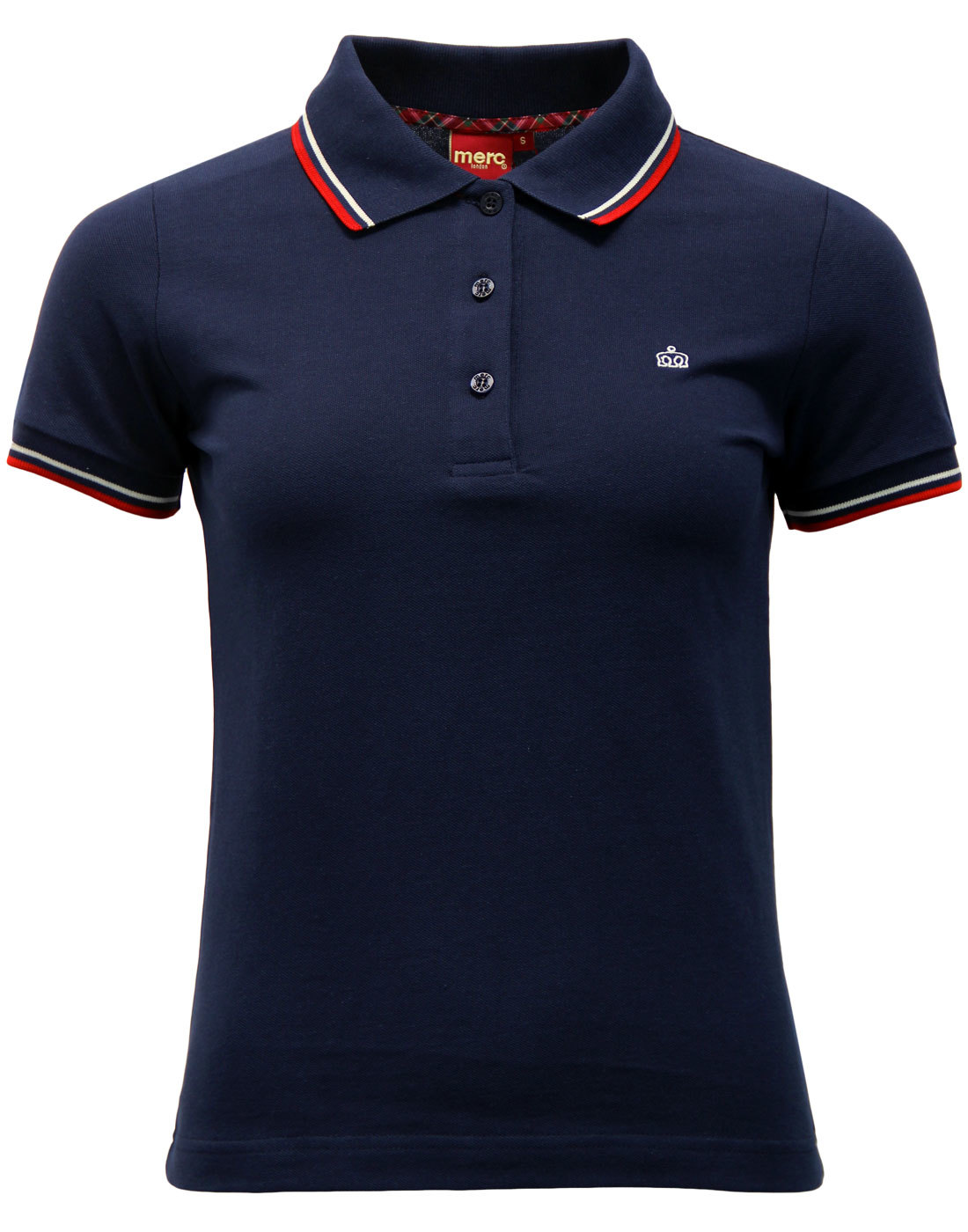Merc Womens Mod Tipped Polo in Navy