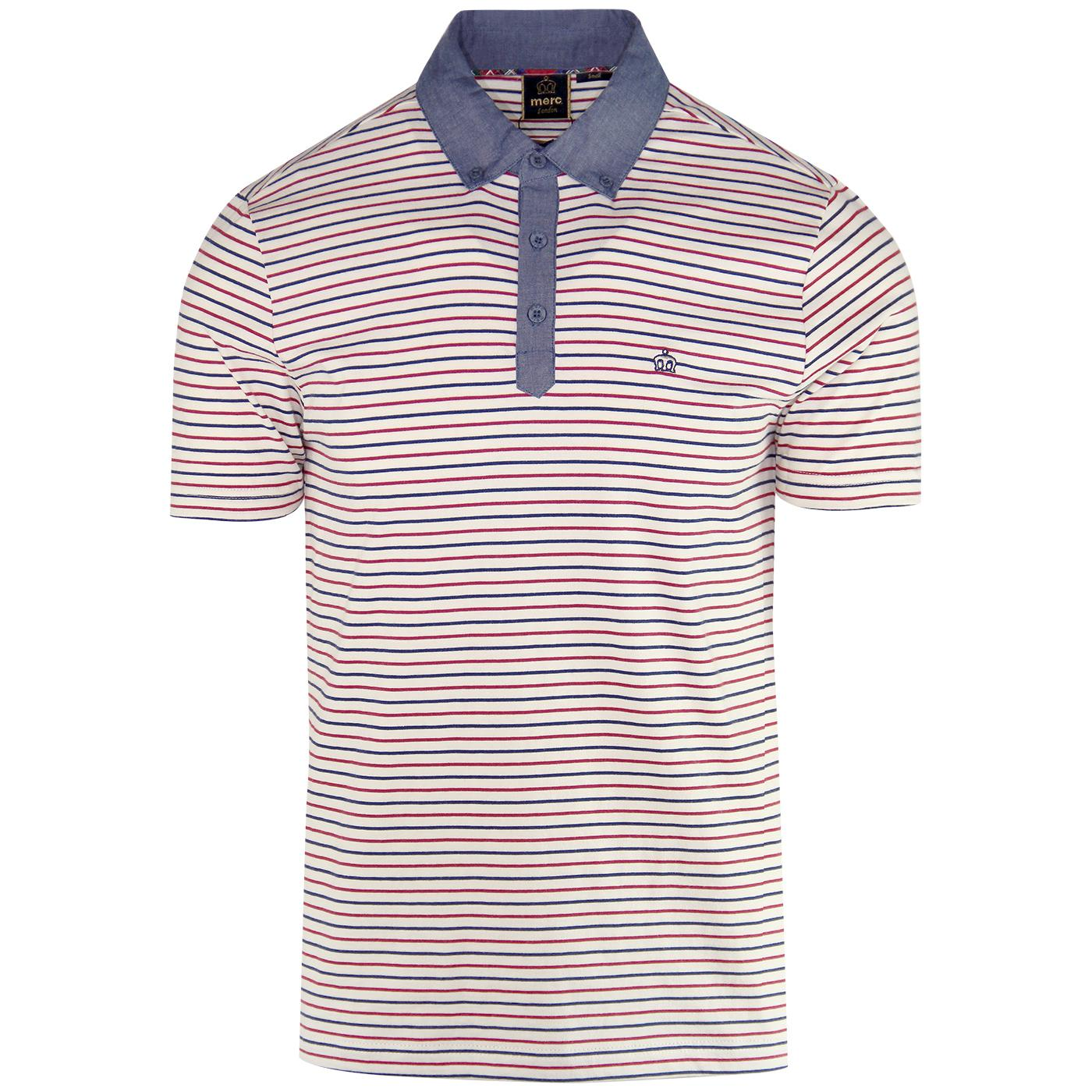 Saxon MERC Retro Mod Multi Stripe Jersey Polo Top